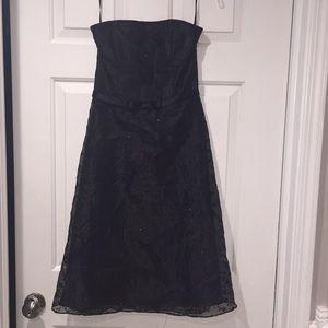 Jessica McClintock Black Strapless Party Dress Sz6